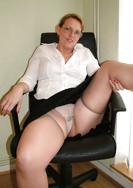 Nice granny in fishnet body stocking invited a younger man - 1 part 3